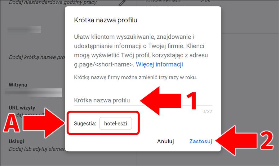 Tworzenie krótkiej nazwy wizytówki Google