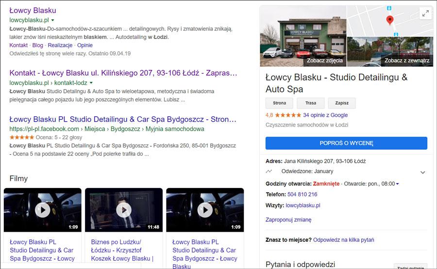 """Przycisk """"POPROŚ O WYCENĘ"""" na wizytówce Google"""