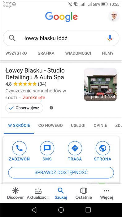 """Przycisk """"POPROŚ O WYCENĘ"""" na wizytówce Google na telefon"""