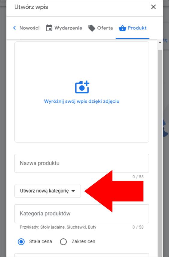 Tworzenie kategorii we wpisie Google Moja Firma
