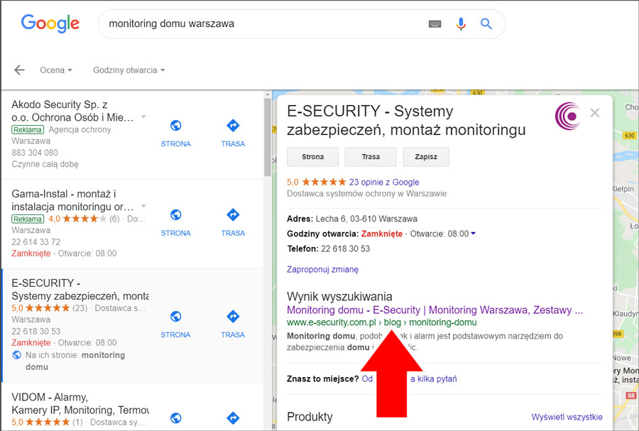Łącze do bloga w wynikach lokalnych na wizytówce Google