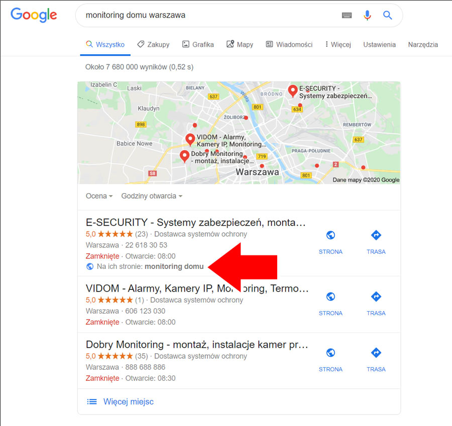 Link do artykułu blogowego umieszczony na wizytówce Google