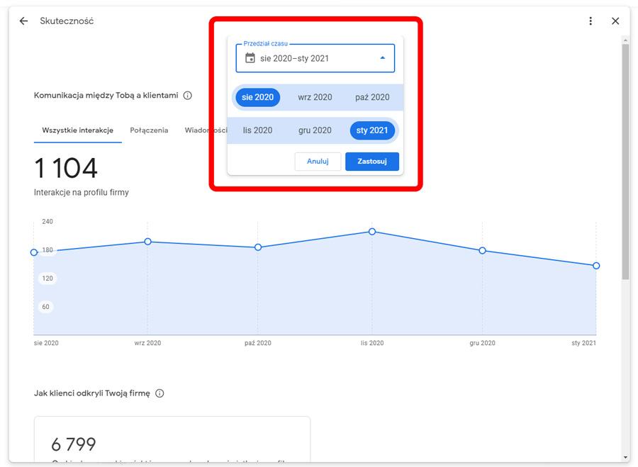 Zakres czasu w raporcie Google Moja Firma