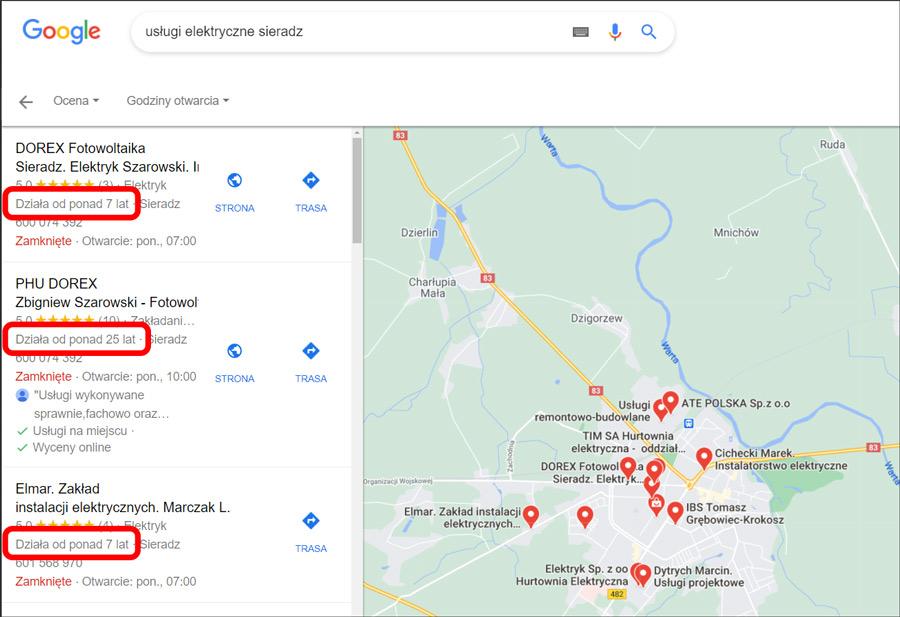 Staż firm w lokalnych wynikach wyszukiwania