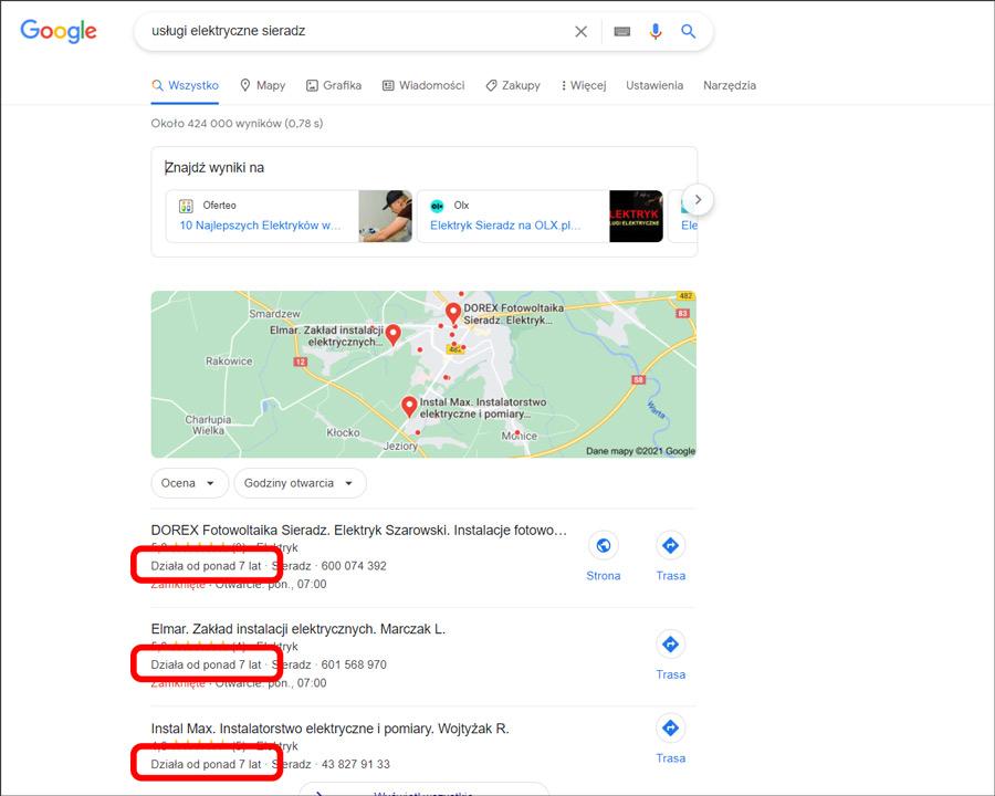 Lata w biznesie w wyszukiwarce Google